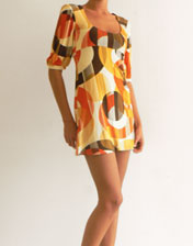 robe tunique orange marron en location
